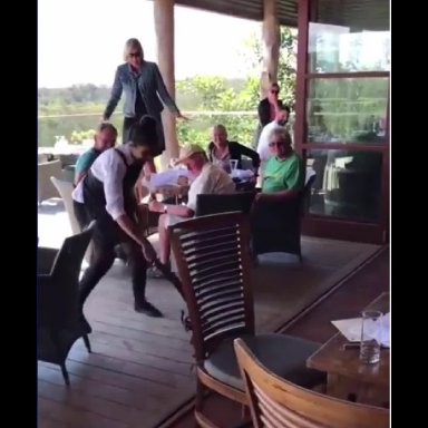 Waitress drags out giant Lizard at restaurant